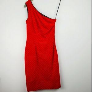Vtg Jan Barboglio Lady Bug 1 Shoulder Velvet Dress
